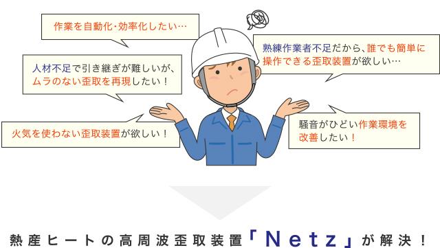 熱産ヒートの高周波歪取装置「Netz」が解決!